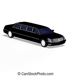 black limo - huge limo with black windows with Clipping Path