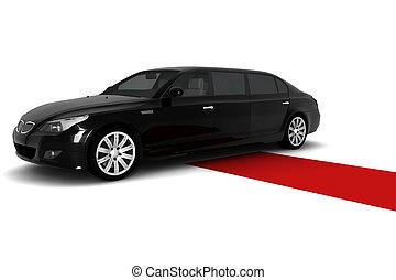 Black limousine - A black limousine with a red carpet