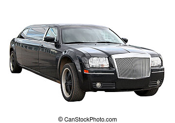 Black limousine isolated over white background