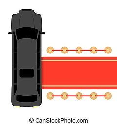 black limousine parked near red car