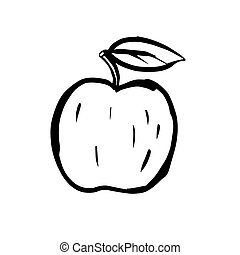Black line apple sketch on white background. Fruit with a twig and a leaf.