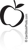Black line art apple isolated on white