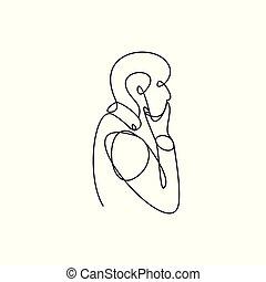Black line art illustration of a man.