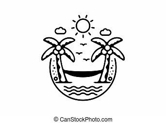 Black line art illustration of hammock on the beach