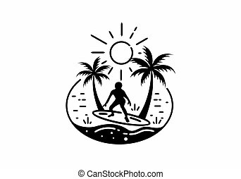 Black line art illustration of surfing man on the beach