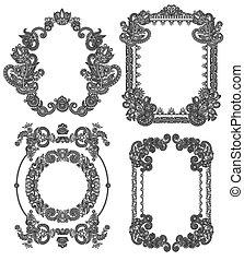 black line art ornate flower design frame collection,...