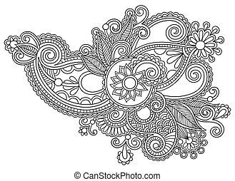 black line art ornate flower design, ukrainian ethnic style