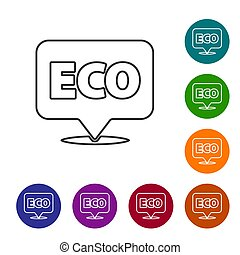 Black line Banner, label, tag, logo for eco green healthy food icon isolated on white background. Organic product. Healthy food sticker. Set icons in color circle buttons. Vector