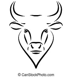 Black line bull head or ox logo Isolated on white background. Chinese new year 2021 year of the ox. Simple outline face with lines.