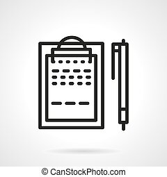 Black line clipboard with pen vector icon