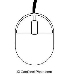 black line computer mouse , vector illustration