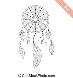 Black line dream catcher isolated on white background....