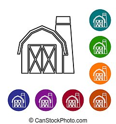 Black line Farm house icon isolated on white background. Set icons in color circle buttons. Vector