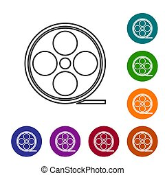 Black line Film reel icon isolated on white background. Set icons in color circle buttons. Vector