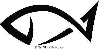Black Line Fish Icon
