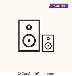 Black line flat multiple loudspeaker icon