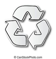 black line hand drawn of recycle sign on cut paper with shadow isolated on white background