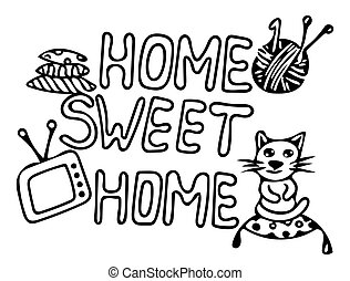 Black line Home sweet home card design with cat and other elements