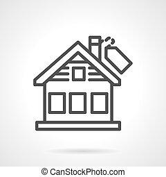 Black line house vector icon