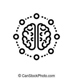 Black line icon for mind-share