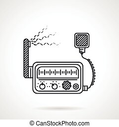 Black line icon for VHF radio - Black flat line design icon...