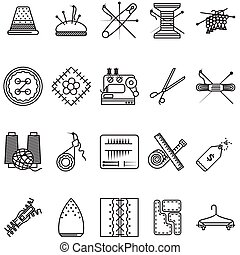 Black line icons vector collection for sewing or handmade -...