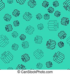 Black line Location of the forest on a map in monitor icon isolated seamless pattern on green background.  Vector Illustration
