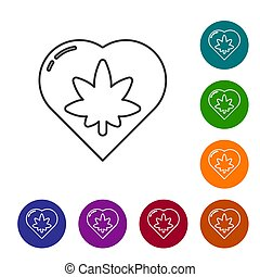 Black line Marijuana leaf in heart shape icon isolated on white background. Hemp symbol. Set icons in color circle buttons. Vector Illustration