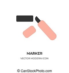 Black line marker icon highlighter pen logo vector