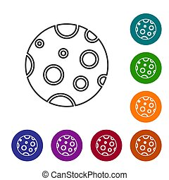 Black line Moon icon isolated on white background. Set icons in color circle buttons. Vector Illustration
