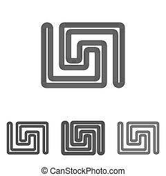 Black line scientific logo design set
