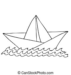 Black line ship for coloring book