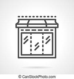 Black line showcase window vector icon
