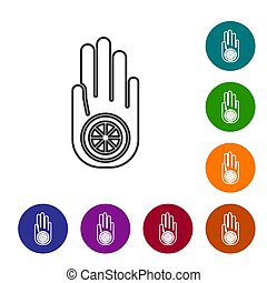 Black line Symbol of Jainism or Jain Dharma icon isolated on white background. Religious sign. Symbol of Ahimsa. Set icons in color circle buttons. Vector Illustration