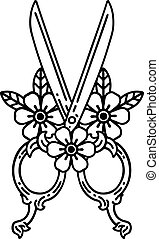 black line tattoo of a barber scissors and flowers
