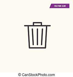 Black line trash bin icon-garbage illustration