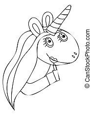 Black line Unicorn isolated on the white background
