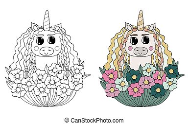 Black line Unicorn with flowers for coloring book or page