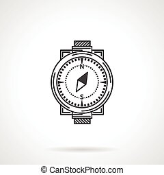 Black line vector icon for compass