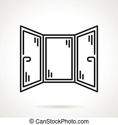 Black line vector icon for corner window