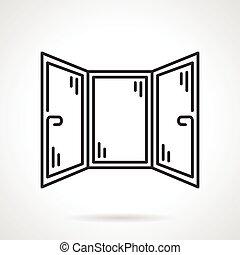 Black line vector icon for corner window