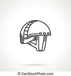 Black line vector icon for helmet