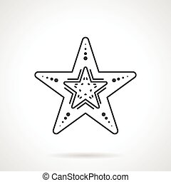 Black line vector icon for starfish