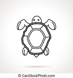 Black line vector icon for turtle