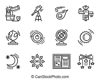 Black line vector icons for astronomy - Symbols for...