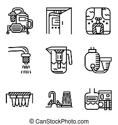 Black line vector icons for water filters
