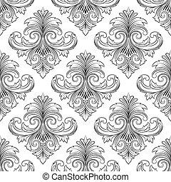 Black Line Vintage Ornament Pattern