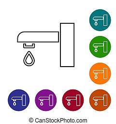 Black line Water tap icon isolated on white background. Set icons in color circle buttons. Vector