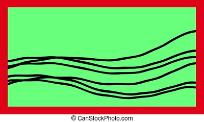 black Line wave on green screen with red frame