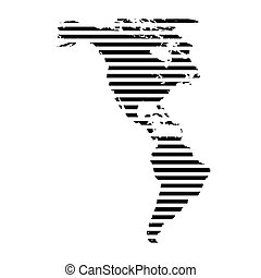 Black linear symbol of north and south America map on white, vector illustration